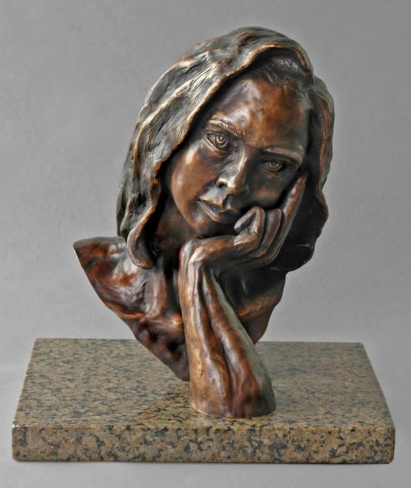 The Thinker - Cast Bronze Portrait by Eduardo Gomez - side