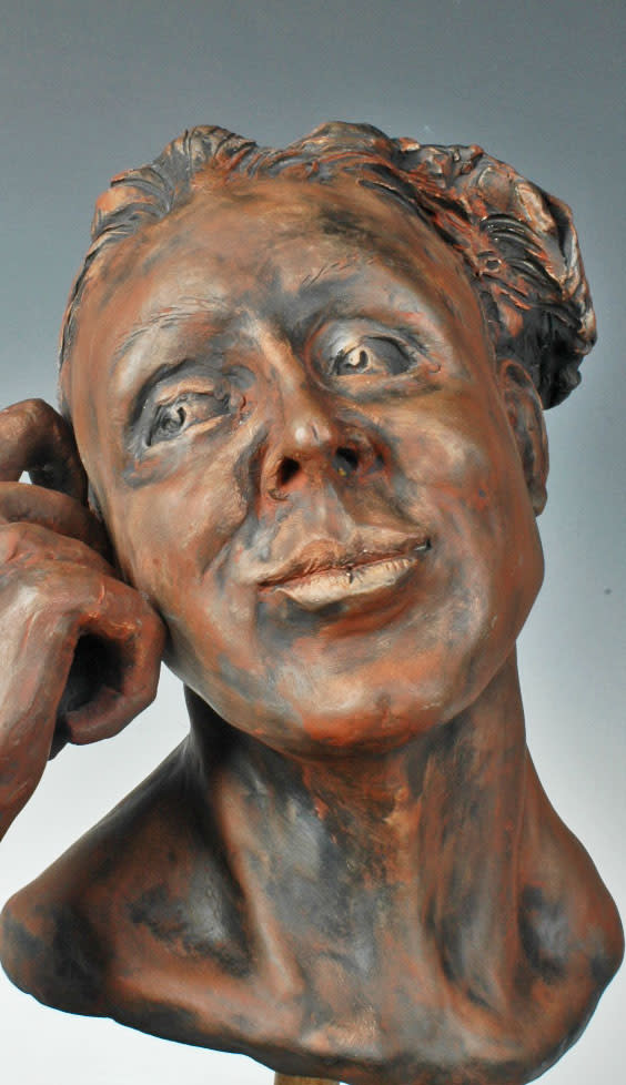 Dreamweaver - fired ceramic portrait sculpture by Eduardo Gomez