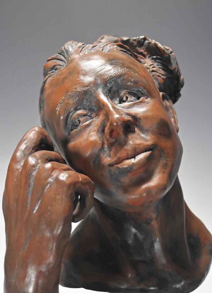 Dreamweaver - fine art ceramic portrait sculpture by Eduardo Gomez