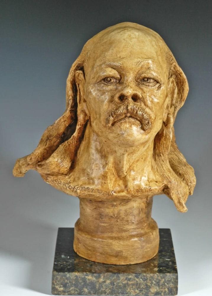 Old Hippie - Fine Art Ceramic Portrait by Eduardo Gomez