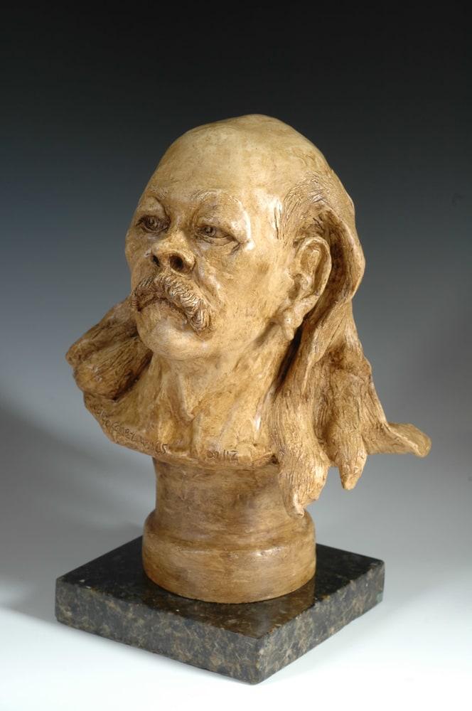 Old Hippie - Fine Art Fired Clay Portrait by Eduardo Gomez