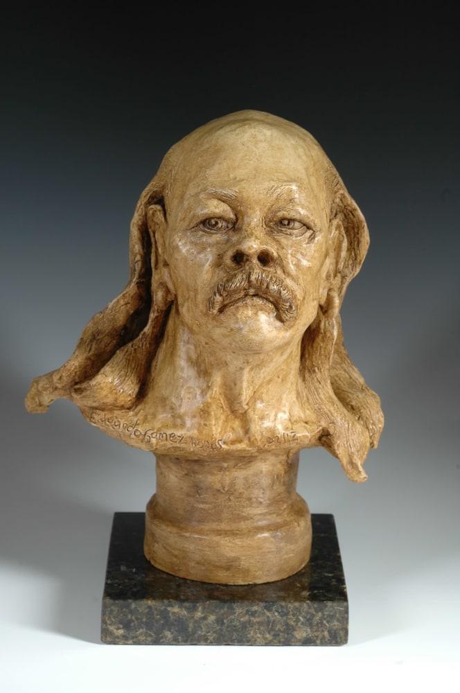 Old Hippie - Fine Art Ceramic Portrait by Eduardo Gomez - front