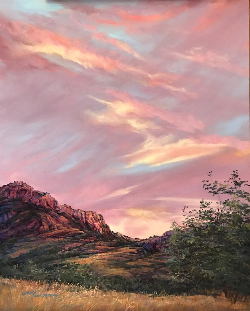 Indian Summer Joy, Mountain Sunset 20x16 pastel Lindy Cook Severns