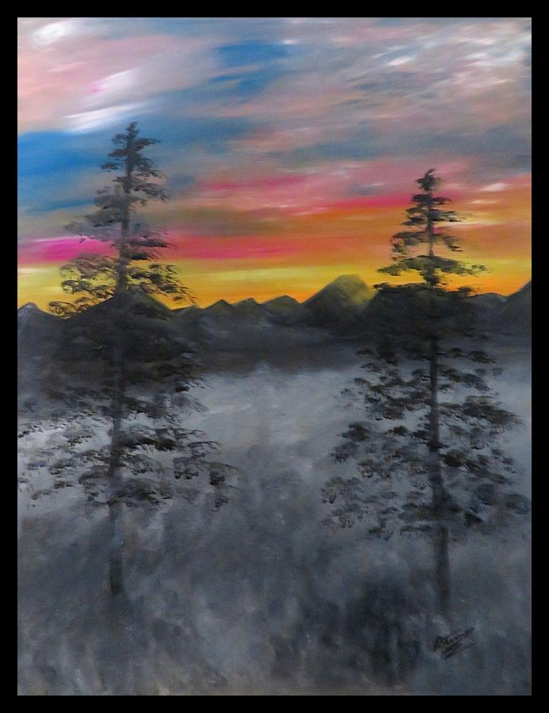 Foggy Sunrise InPixio framed