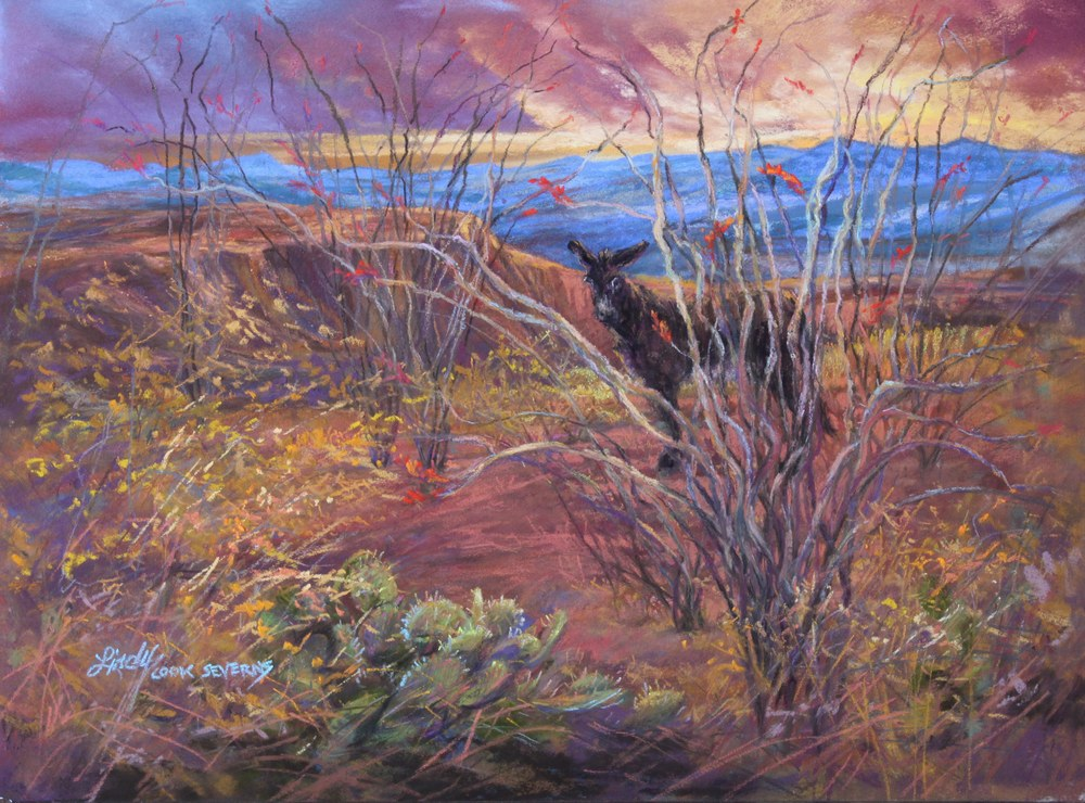 4b18 Coloring the Desert 9x12 pastel Lindy C Severns
