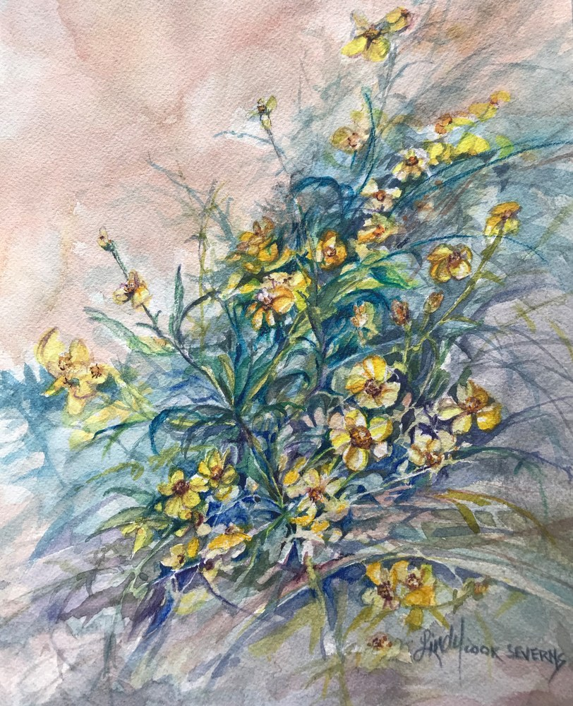 23f19 A Spray of Summer Joy 9x12 watercolor Lindy Cook Severns