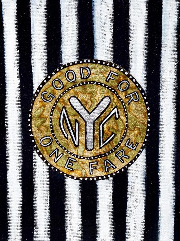 blackandwhite nyc subway token painting paul zepeda