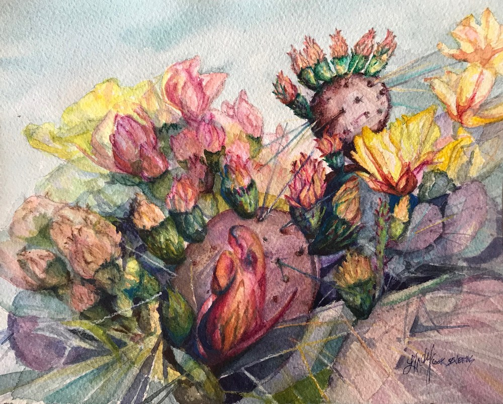 A Splendid Riot of Prickly Pear 8x10 watercolor Lindy Cook Severns