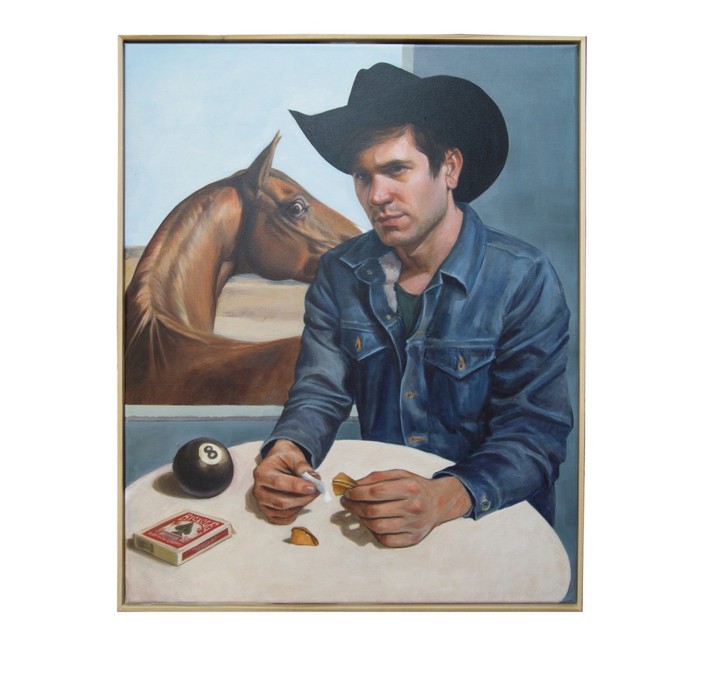 cowboy reads his fortune w frame