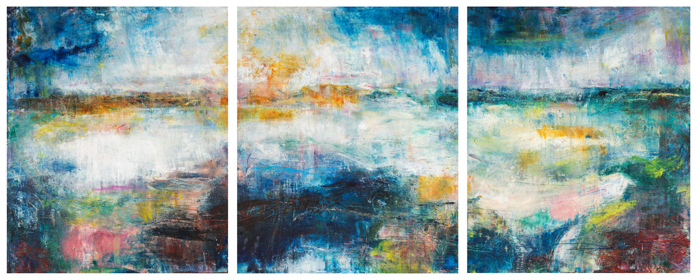 Containers Triptych Eadaoin Glynn 2019 oil, oil bar, pigment, cold wax on cradled panel 60x150cm HiRes