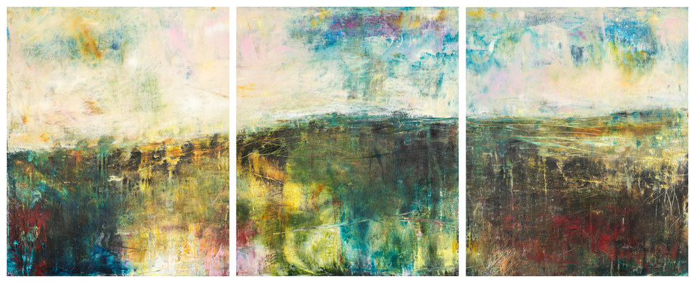 Eadaoin Glynn 2019 'Land' Triptych oil cold wax on cradled panel 60x150cm Gaps HiRes