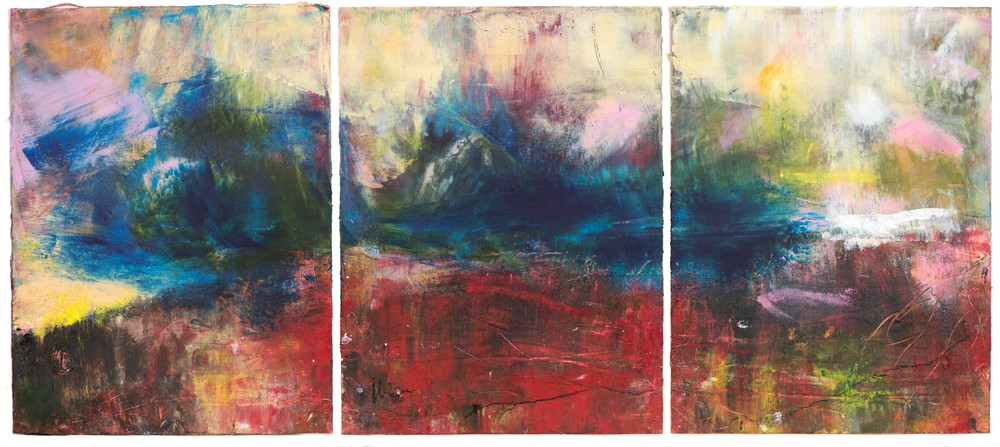 'She turned her face into the wind' triptych, oil on cold wax on paper framed, Eadaon Glynn, 2019
