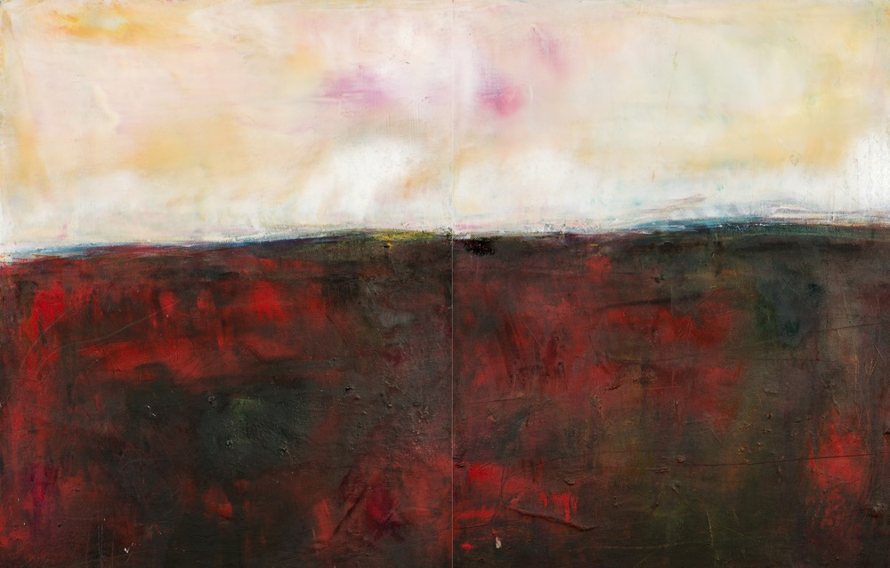 'The Walk Home', Eadaoin Glynn 2019, oil:cold wax, mixed media on canvas 45