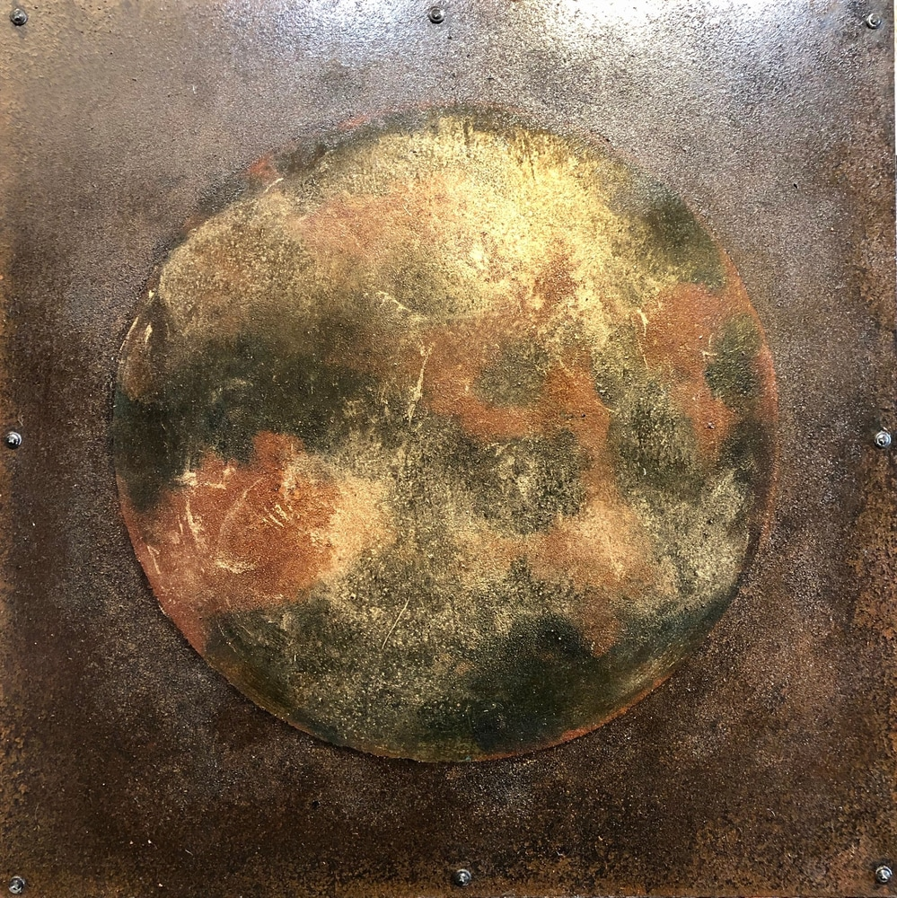 Planetary Series 120, 24x24, rust and oil on steel over wood