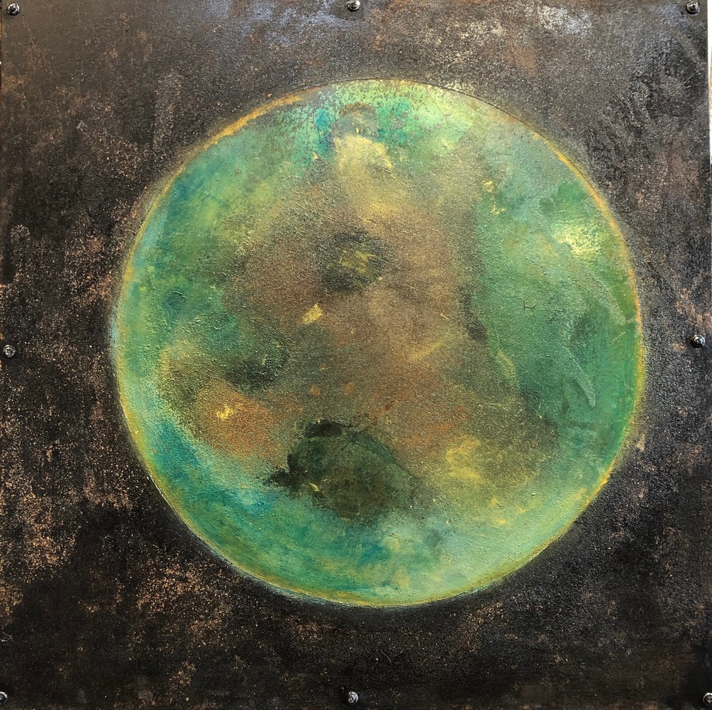 Planetary Series 104, 24x24, rust and oil on steel over wood