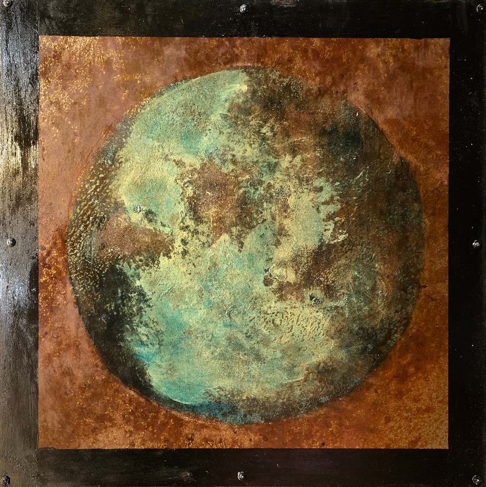 Planetary Series 123, 24x24, rust and oil on steel over wood