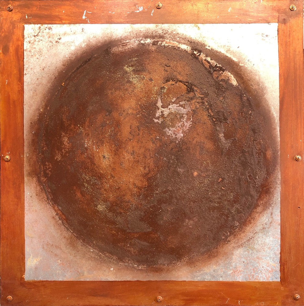 Planetary Series 103, 24x24, oil and rust on steel over wood
