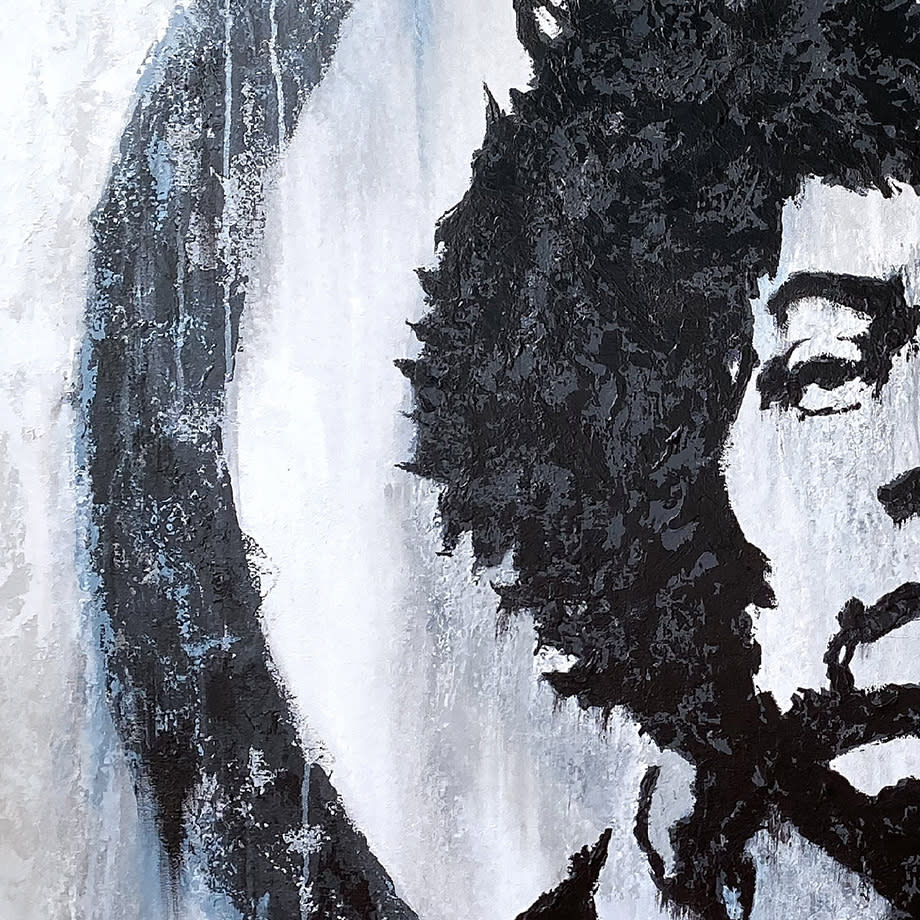 Mr. Jimi - Original Acrylic Painting, Detail