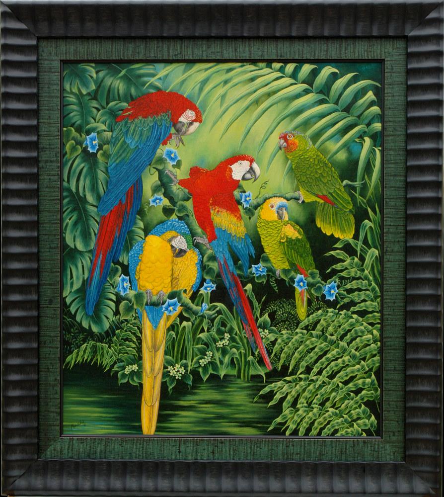 Parrots from Lenska  framed