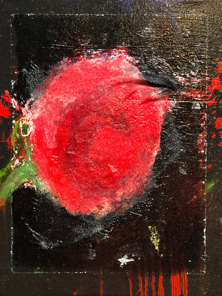 Dripping Red Rose 14x11