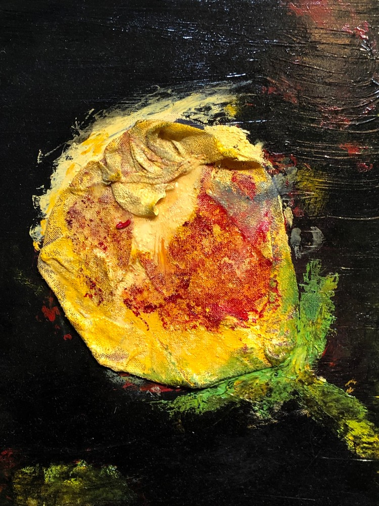yellow rose oil wood 12x9