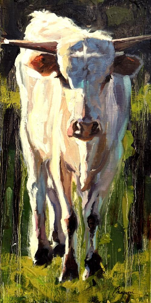 Bull Calf, 10x20, Oil, 2020
