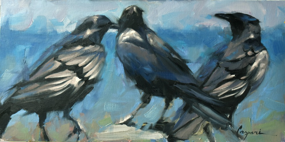 3 Crows, 20x10, Oil, 2020