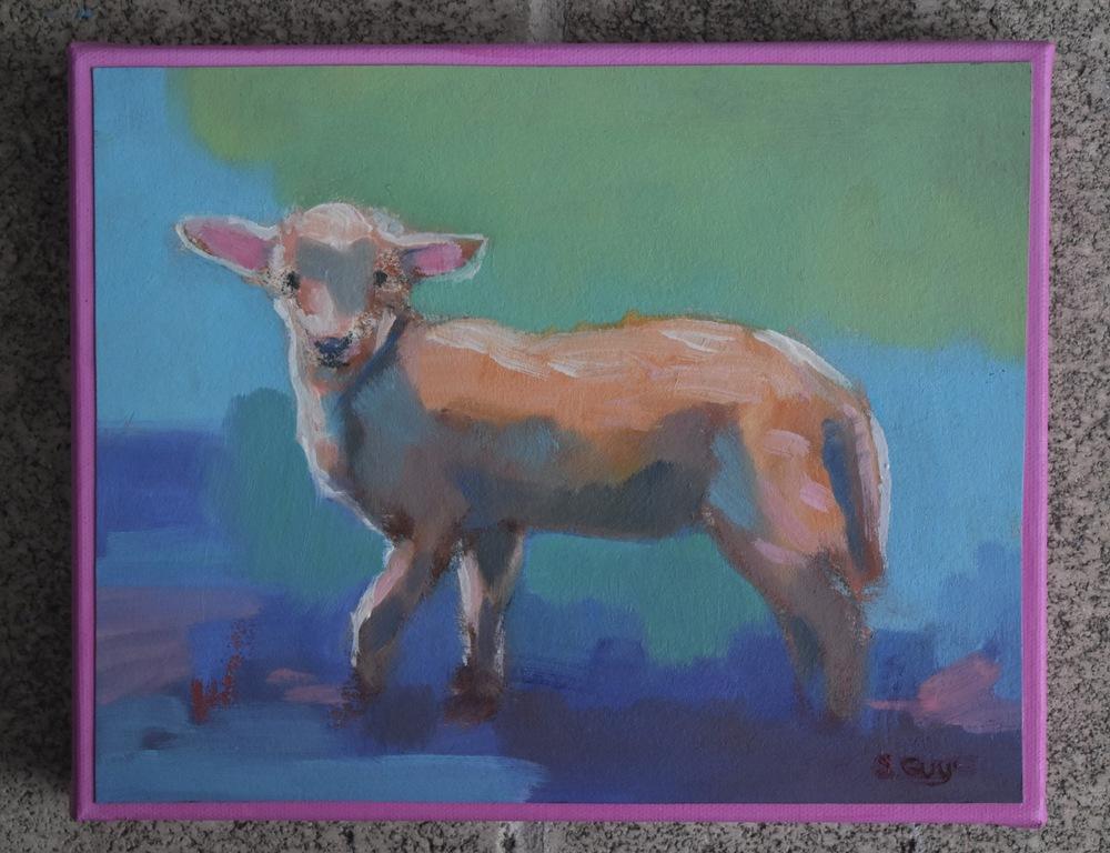 Lamb On Blue pink border
