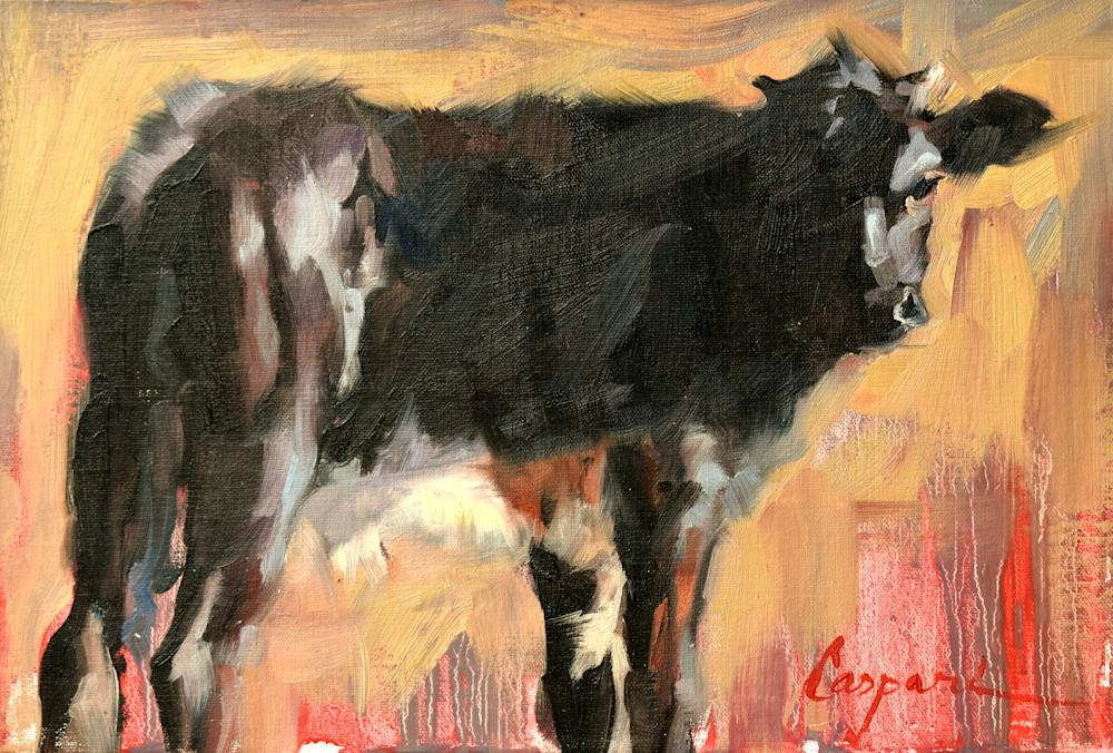 Black Bull Calf, 12x8, Oil, 2020