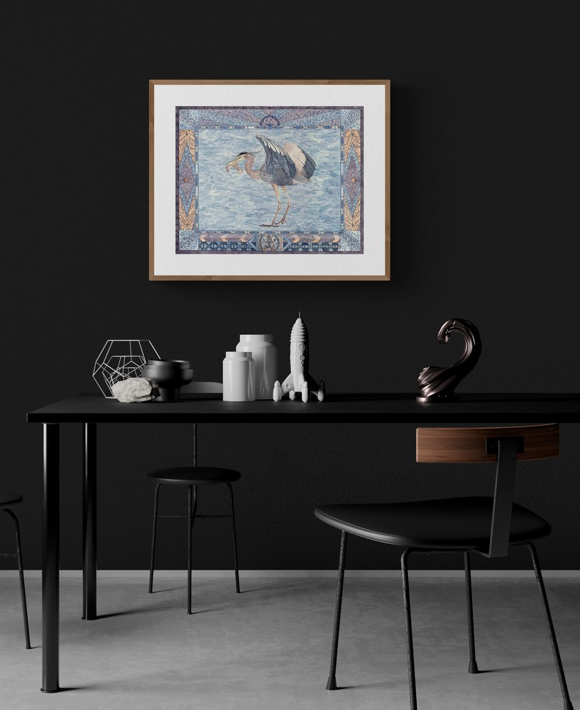 heronwithfish  dark dining room setting