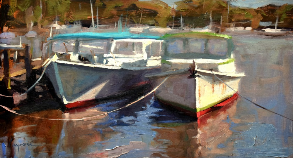 Lunch Boats, 24x13, Oil, 2020