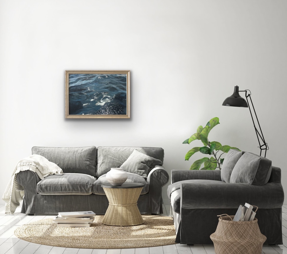 Carina Francioso   Sacred Waters Original Oil Framed Painting Contemporary Ocean Cloud Sky Hawaii Evo Art Maui Gallery Kammy Robert Burrer Hodges 3
