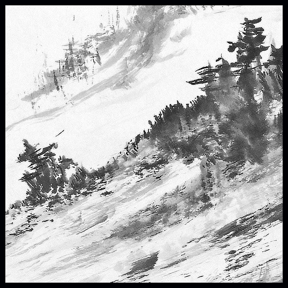hombretheartist sumie mountains 1 original art details 111219