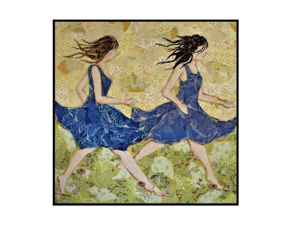 Racing the wind blue dress framed