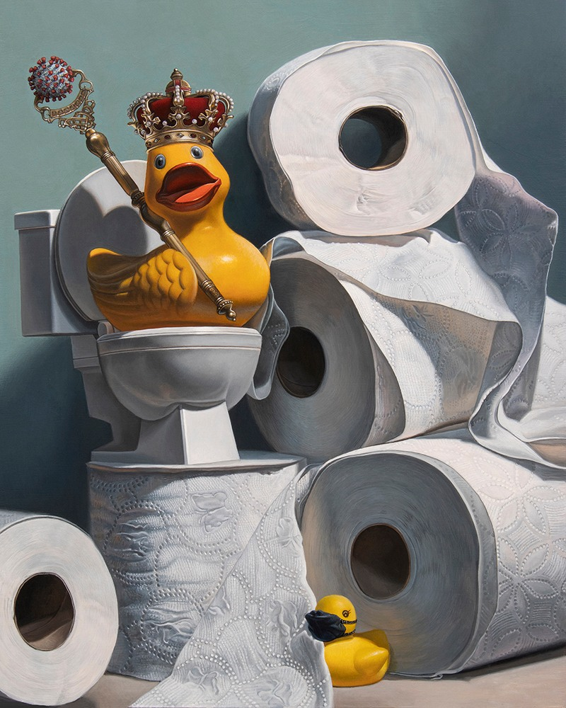 Kevin Grass What the Duck Acrylic on aluminum panel painting