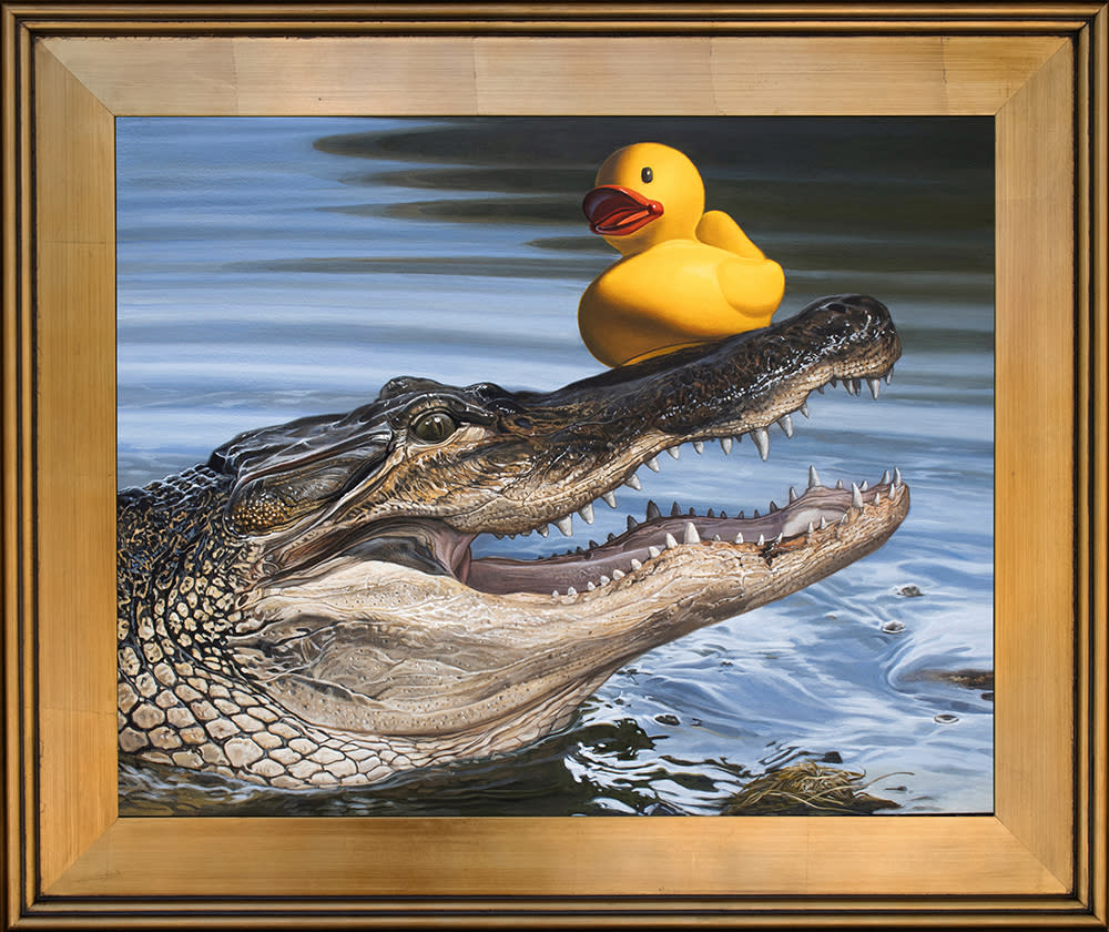 Kevin Grass Sitting Duck Gold Frame Acrylic on aluminum panel painting