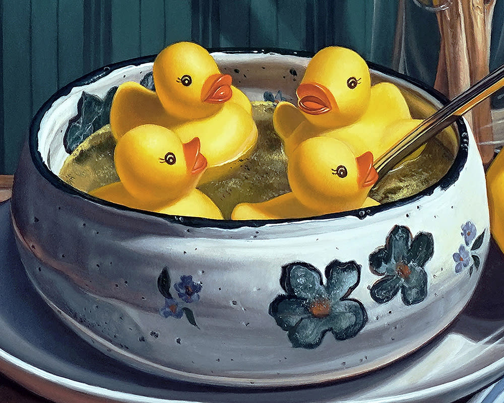 Kevin Grass Duck Soup detail Acrylic on aluminum panel painting
