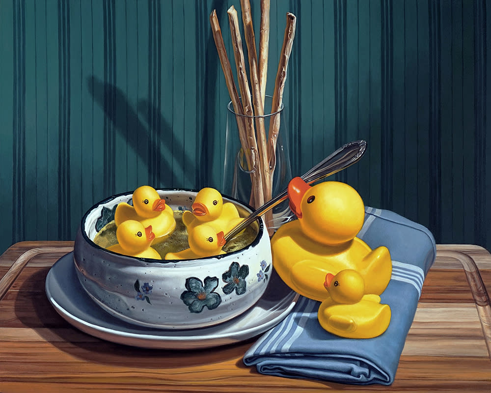 Kevin Grass Duck Soup Acrylic on aluminum panel painting