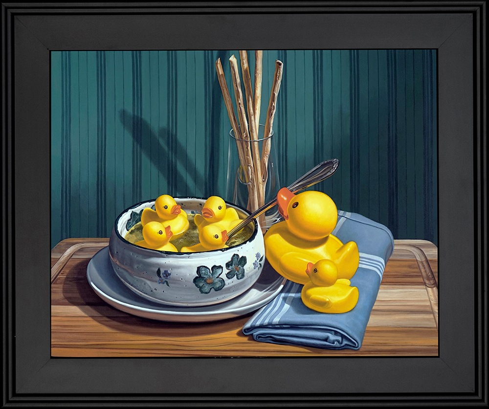 Kevin Grass Duck Soup Black Frame Acrylic on aluminum panel painting