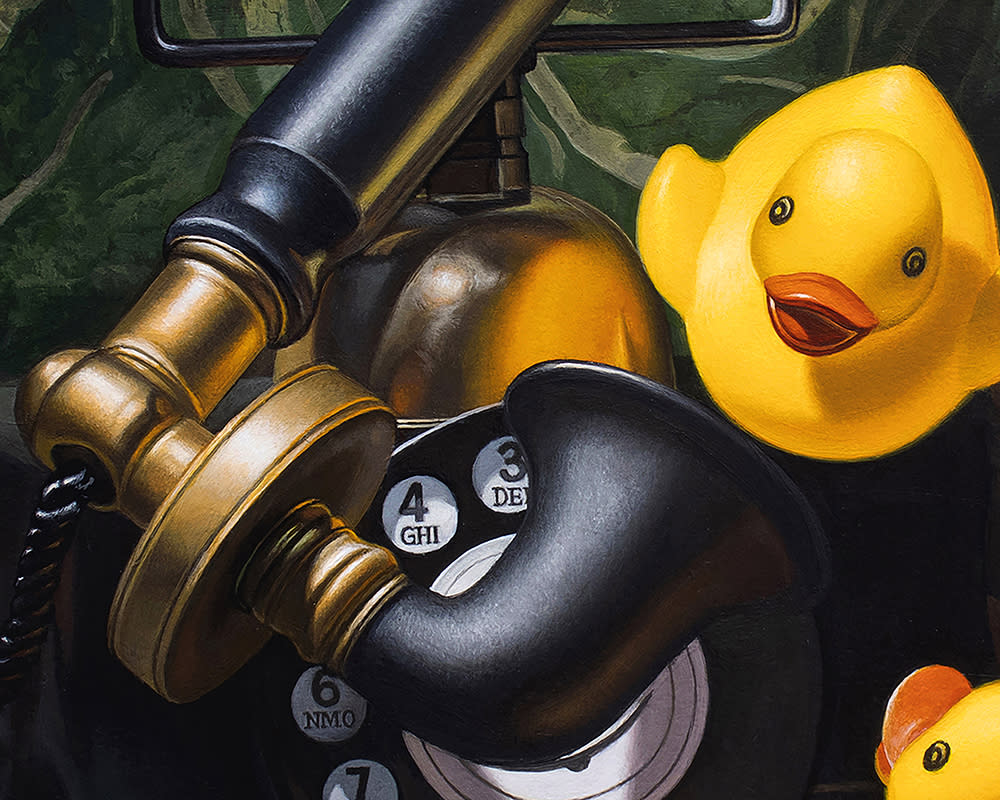 Kevin Grass Duck Call detail Acrylic on aluminum panel painting