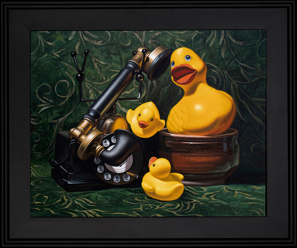 Kevin Grass Duck Call Black Frame Acrylic on aluminum panel painting