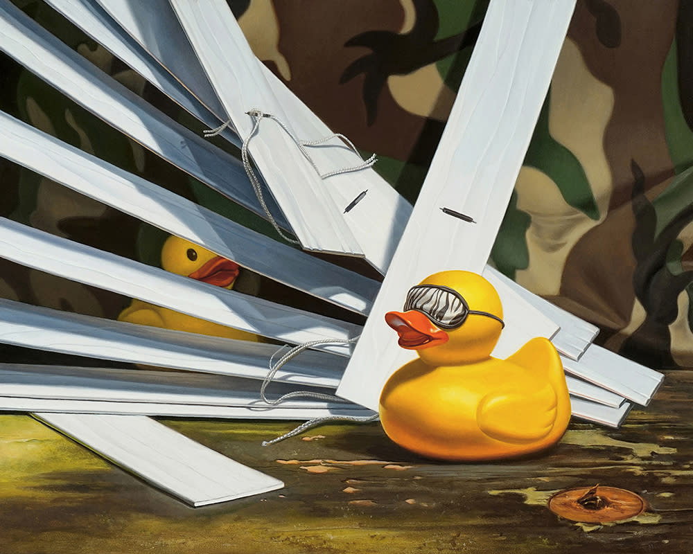 Kevin Grass Duck Blind Acrylic on aluminum panel painting