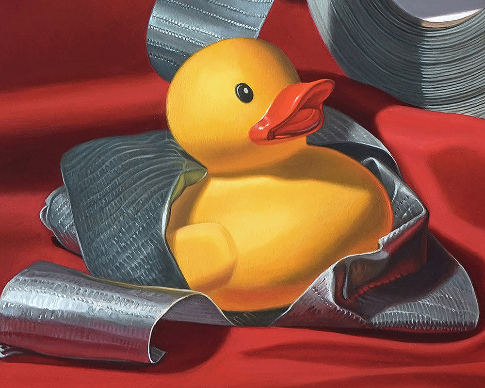 Kevin Grass Duck Tape Detail 1 Acrylic on aluminum panel painting
