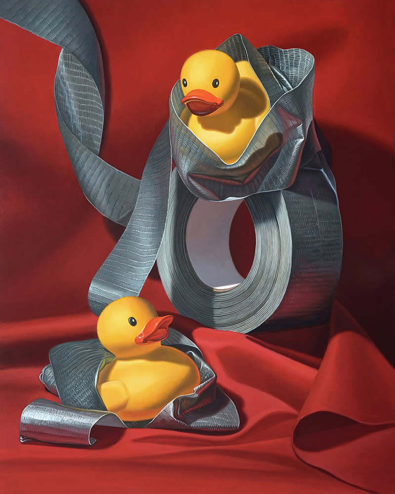 Kevin Grass Duck Tape Acrylic on aluminum panel painting