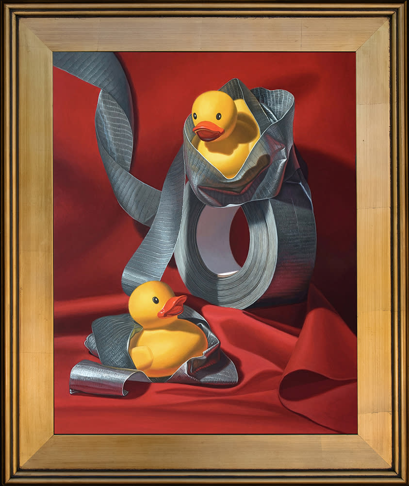 Kevin Grass Duck Tape Gold Frame Acrylic on aluminum panel painting