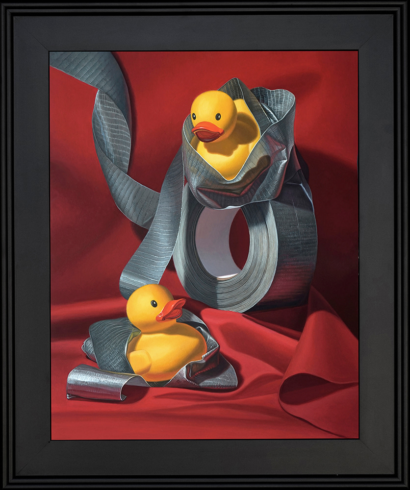 Kevin Grass Duck Tape Black Frame Acrylic on aluminum panel painting