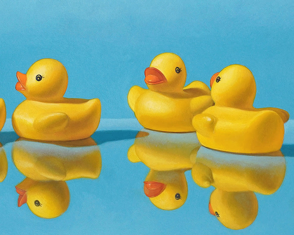 Kevin Grass Getting All Your Ducks in a Row detail Acrylic on aluminum panel painting