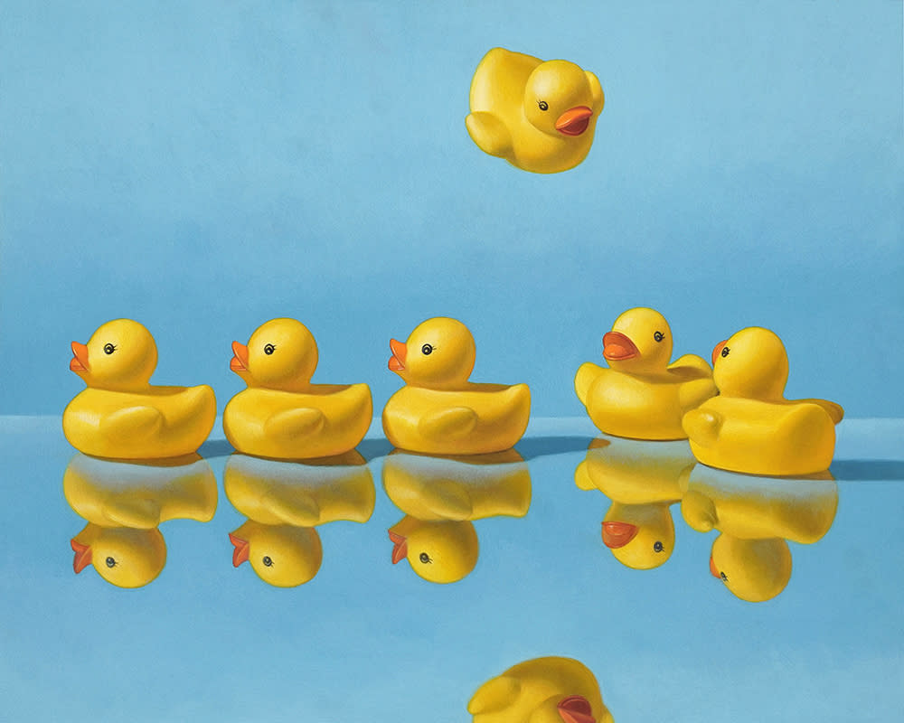 Kevin Grass Getting All Your Ducks in a Row Acrylic on aluminum panel painting