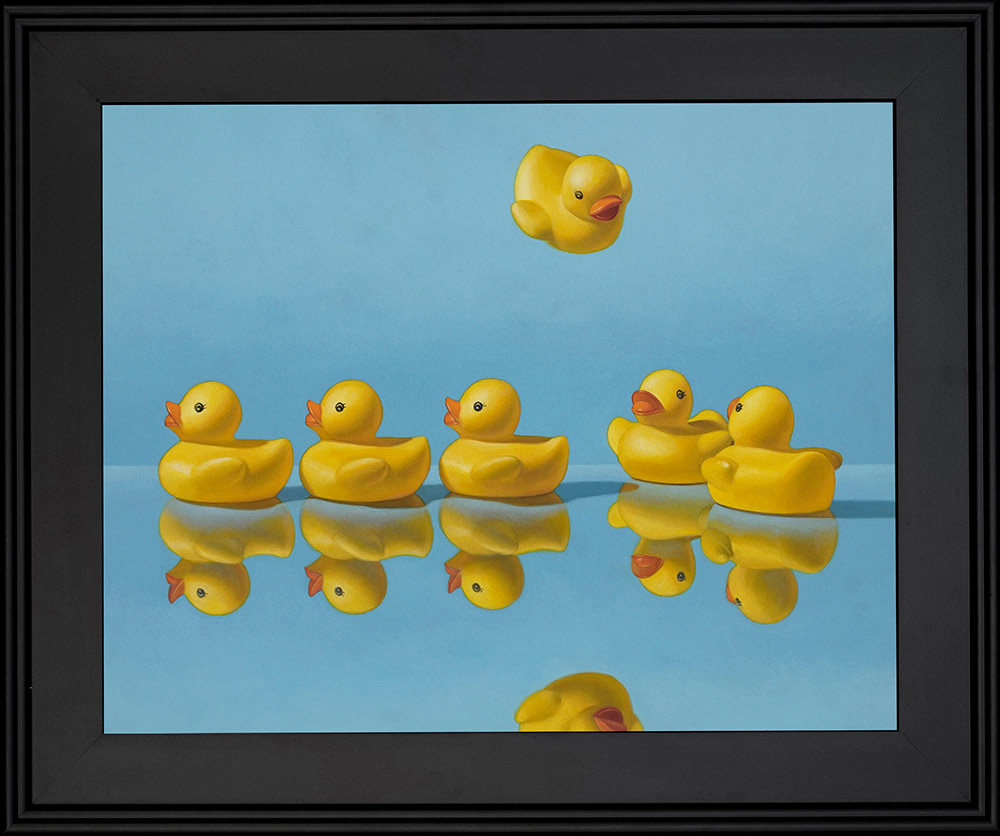 Kevin Grass Getting All Your Ducks in a Row Black Frame Acrylic on aluminum panel painting