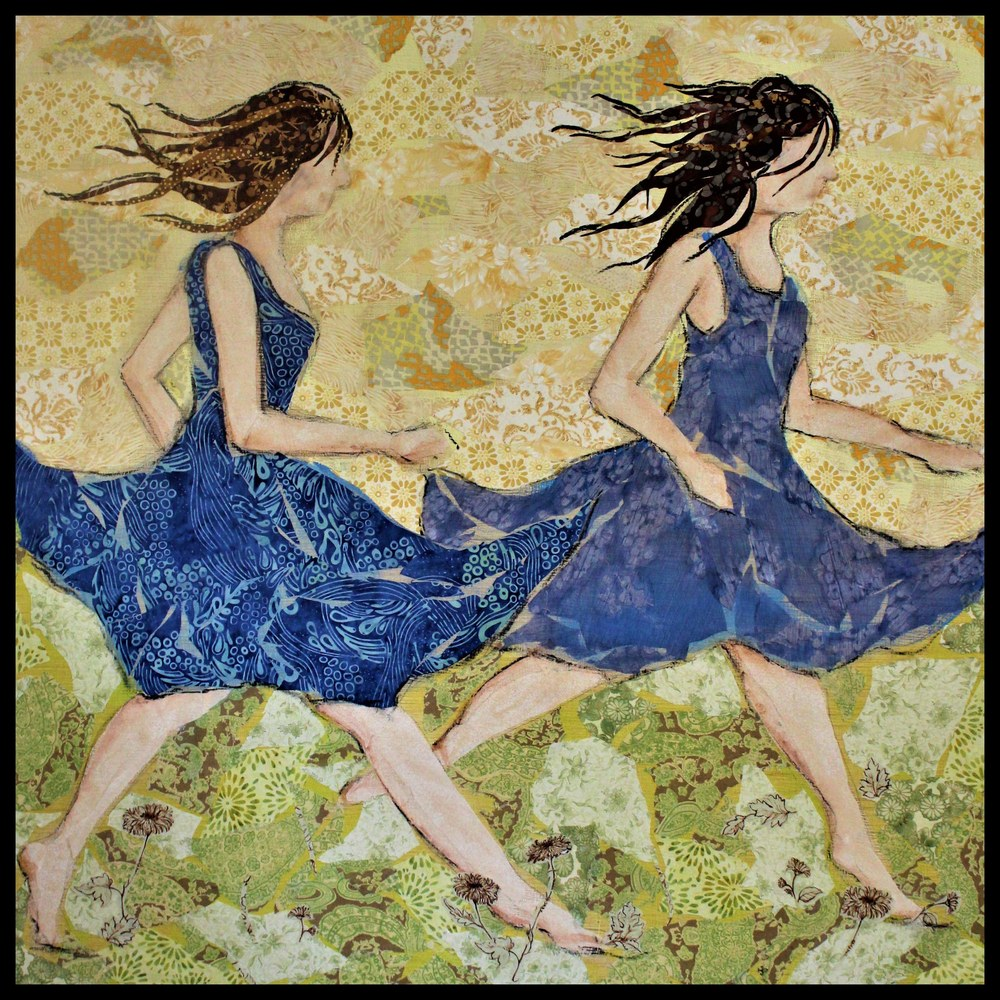 Racing The Wind Blue Dress R FRAMED